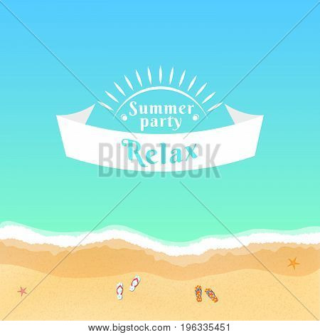 Summer party. Flat banner from ribbon. Slippers in the sand. Banner for your projects. Top view of a sea beach. Starfish on the sand. Saturated beach vacation. Vector illustration