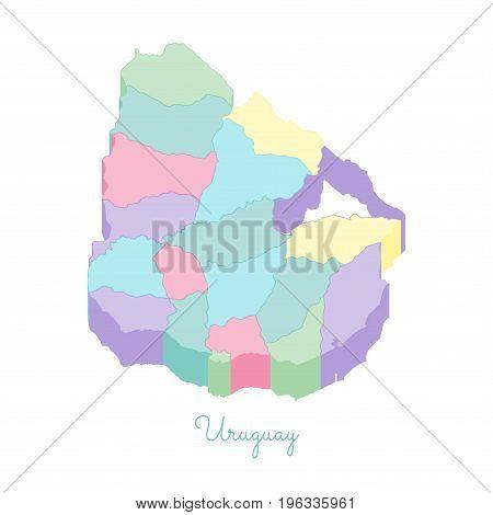 Uruguay Region Map: Colorful Isometric Top View. Detailed Map Of Uruguay Regions. Vector Illustratio