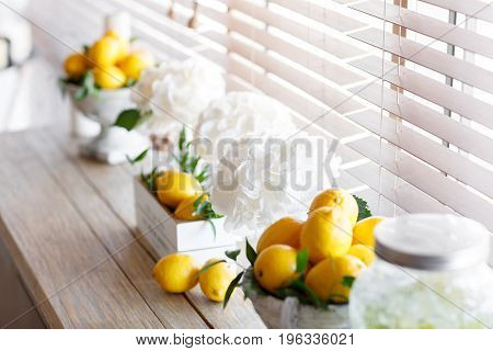 box fresh lemon. with ice and mint. Lemons on background. Lemons on background. Style lemon. Wedding decor