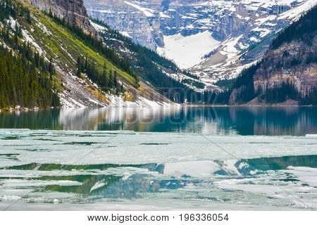 Frozen Ice and Mountain on the Surface of Lake Louise