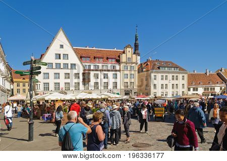 Tallin, Estonia-July 7, 2017: Streets of Tallin bustling with cruise ship tourists shopping in the ancient city.