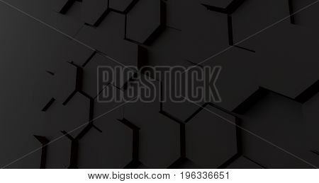 Dark abstract background pattern of hexagons forming a fractured lattice in black hues with copy space to the side in a panoramic format. 3d Rendering.