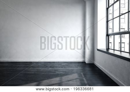 3d rendered bare unfurnished room in an urban apartment or office block in a close up corner view with a window overlooking a tall building