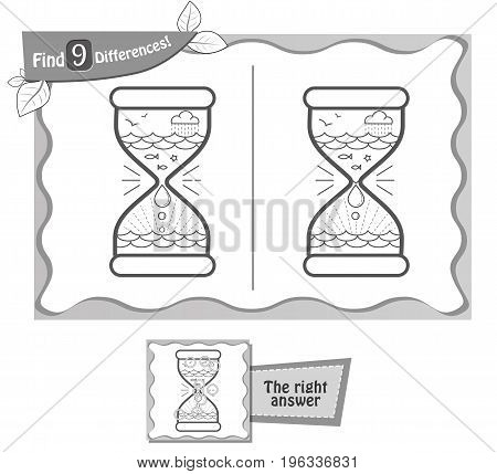Find 9 Differences Game Black Hourglass