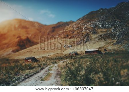 True tilt-shift view of mountain dirt road going to grazing with three small old shielings fields and meadows around mountains and hills in defocused background Altai Russia Kuyus district