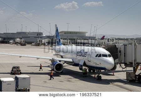 Las Vegas,Nv,USA - JULY 16, 2017 Jet Blue plane on tarmac at McCarran International Airport in Las Vegas the primary commercial airport serving the Las Vegas Valley.
