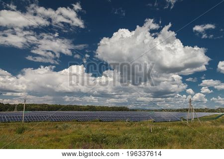 Alternative energy sources. Solar power stations. Outdoors