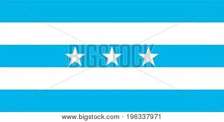 Santiago de Guayaqui city flag Ecuador symbol illustration