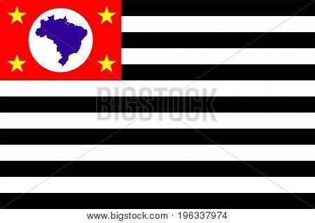 Sao Paulo state flag Brazil symbol illustration