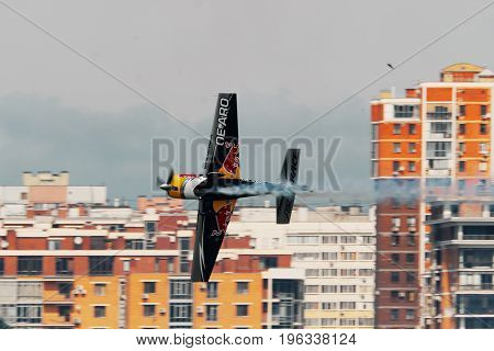 KAZAN, RUSSIA - JULY 21, 2017: Red Bull Air Race World Championship Air Show, training day in Kazan. Photo taken in the afternoon.