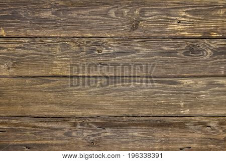 Close-up brown vintage natural wooden planks. Dark aged empty rustik pattern texture. For natural design, decoration