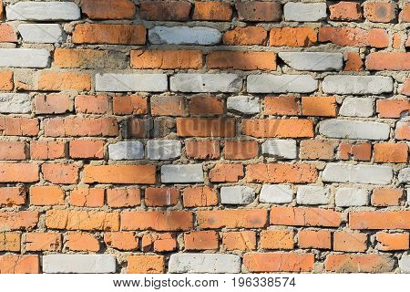 Abstract old damaged brick wall with cracks of a textured background with space for copy text.