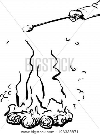Outline Sketch Of Roasting Marshmallow Over Fire Outline