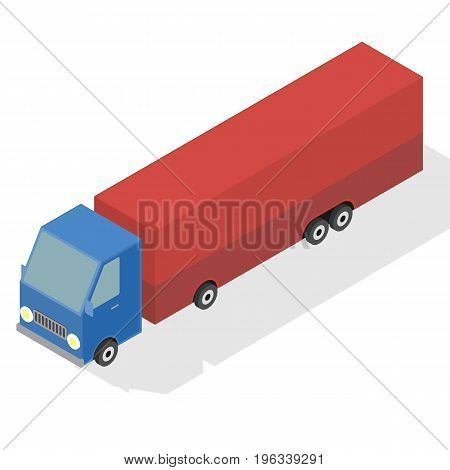 Cargo Truck transportation. Commercial transport. Flat 3d isometric illustration. For infographics and design games.