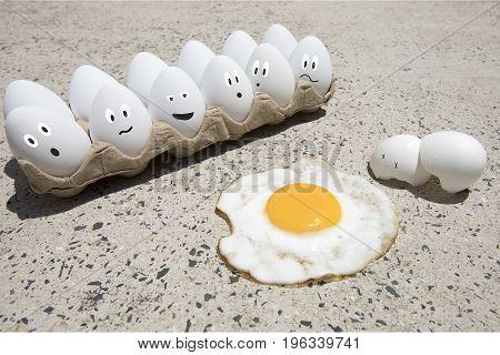 Egg Fry On Sidewalk Illustrated
