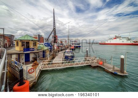 The harbour area of Cowes on the Isle of Wight in England