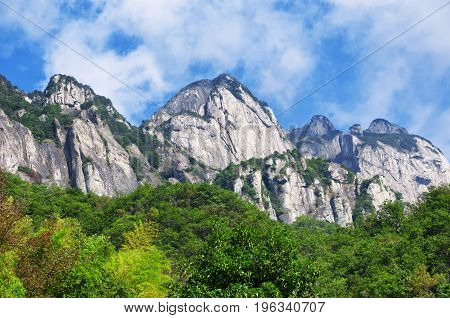 Mountains at the Dalong Waterfall scenic area in Yandangshan mountain area located in Zhejiang province China.