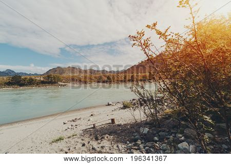 Beautiful morning wide angle view through bushes on wooden self-made bench lonely standing on sand beach of Katun river with stones mountains in distant Altai Kuyus district Russia