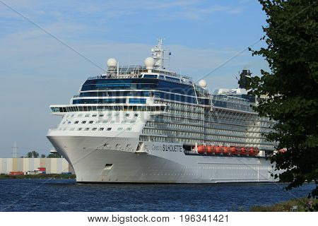 Velsen The Netherlands - July 20th 2017: Celebrity Silhouette is a Solstice-class cruise ship owned and operated by Celebrity Cruises built by Meyer Werft Papenburg. The Silhouette is 315 m (1033 ft) long.