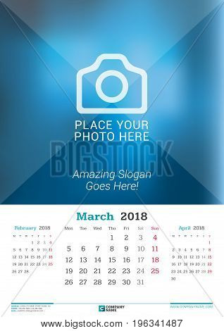 March 2018. Wall Monthly Calendar For 2018 Year. Vector Design Print Template With Place For Photo.