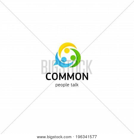 Union friendship common people connection. United club of people by interests vector logo