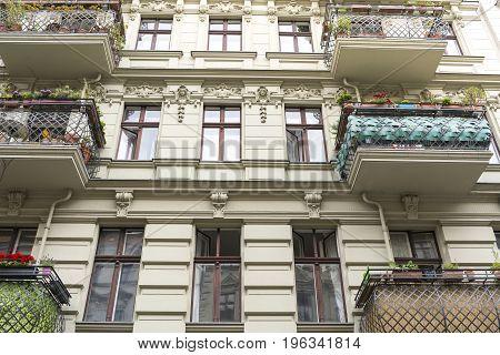 Beautiful Old House With Balconies In Berlin Kreuzberg