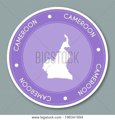 Cameroon Label Flat Sticker Design. Patriotic Country Map Round Lable. Country Sticker Vector Illust