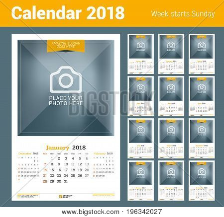 Wall Calendar For 2018 Year. Vector Design Print Template With Place For Photo. Week Starts On Sunda