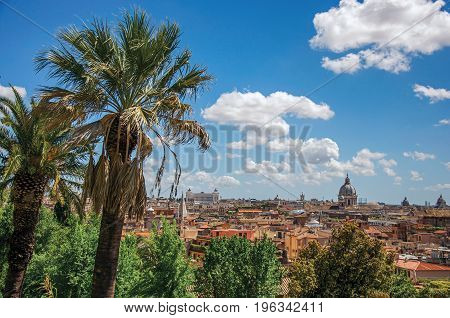 Overview of cathedrals domes, monuments and roofs of buildings on a sunny day in Rome, the incredible city of the Ancient Era, known as