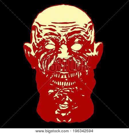 Red head of the shouting monster. Scary halloween character face. Vector illustration.