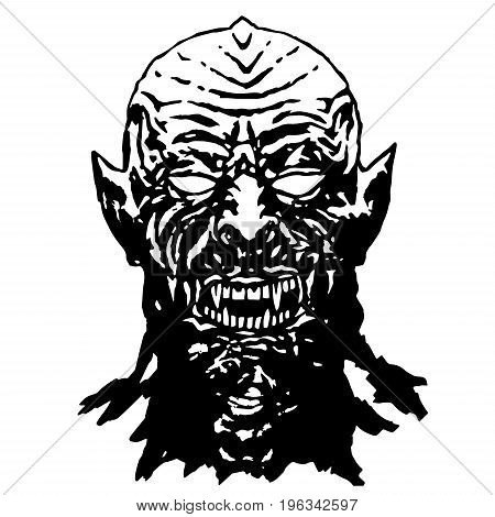Bared teeth of hungry vampire. Vector illustration. The horror genre. Scary character face for halloween.