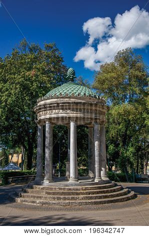 Close-up of small temple and trees at Villa Borghese in Rome, the incredible city of the Ancient Era, known as