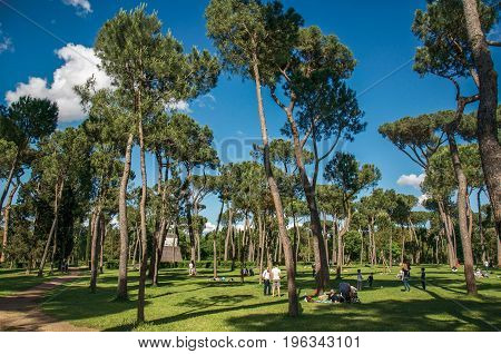 Roma, Italy - May 19, 2013. View of people in park of the Villa Borghese on a sunny day in Rome, the incredible city of the Ancient Era, known as