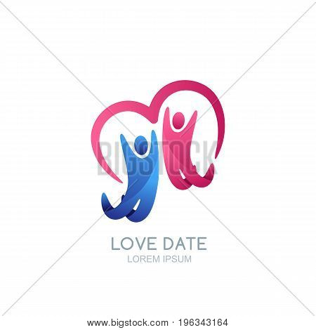 Abstract Happy People And Heart. Vector Logo Design Template. Man And Woman, Family Or Couple Illust