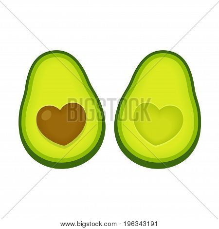 Avocado love vector illustration. Two avocado halves with heart shaped pit.
