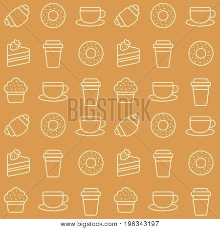 Seamless cafe pattern with coffee cups and desserts icons.