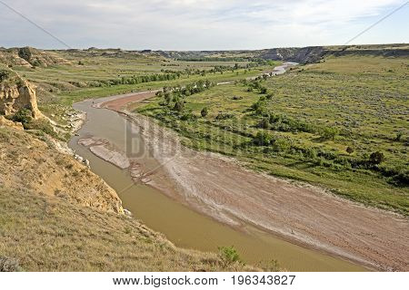 Bend in the Little Missouri River in Late Spring in Theodore Roosevelt National Park in North Dakota