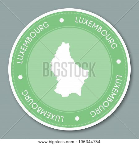 Luxembourg Label Flat Sticker Design. Patriotic Country Map Round Lable. Country Sticker Vector Illu