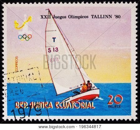 Moscow Russia - July 20 2017: A stamp printed in Equatorial Guinea shows yacht racing series
