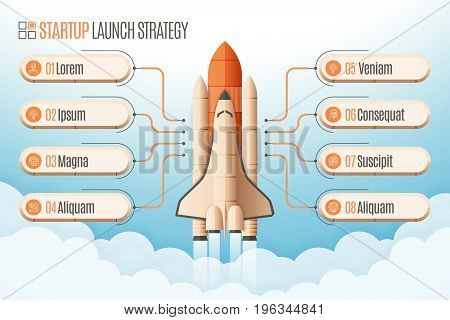 Infographics template with eight structure elements of startup strategy. Rocket or space shuttle launch. Vector illustration