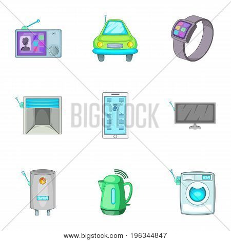 Smart house automation techology security control icons set. Cartoon set of 9 smart house automation techology security control vector icons for web isolated on white background