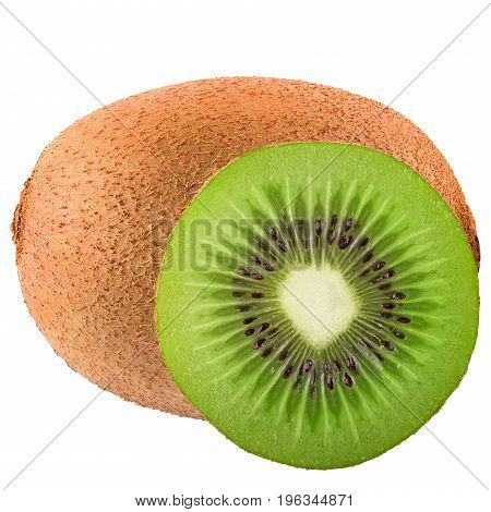 Isolated fruits. One and half fruit kiwi isolated on white background as package design element. Healthy eating.