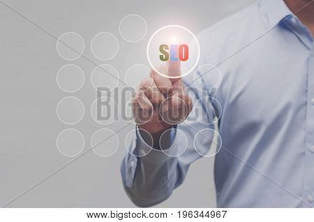 Business hand showing search SEO communication icon web sign as concept