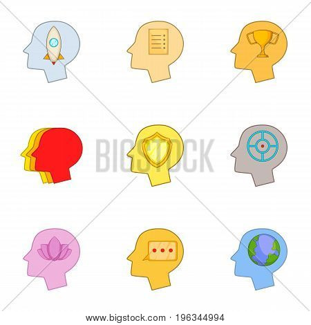 Head thinking about games icons set. Cartoon set of 9 head thinking about games vector icons for web isolated on white background