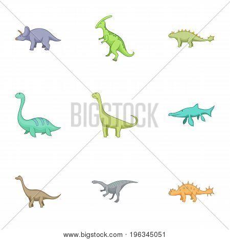 Herbivorous dinosaurs icons set. Cartoon set of 9 herbivorous dinosaurs vector icons for web isolated on white background