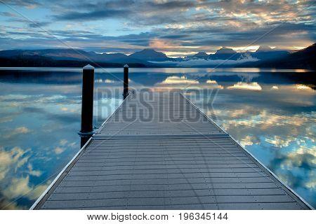 Dock On Lake Mcdonald In Glacier National Park, Montana, Usa