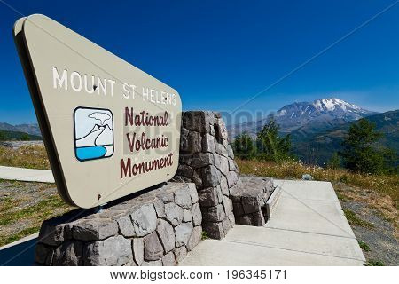 A sign signalling the entrance to the Mount St. Helen's National Volcanic Monument