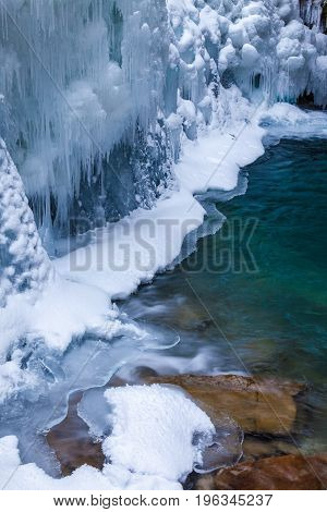 Ice And Water In Johnston Canyon, Banff National Park, Alberta,