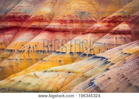 Painted Hills detail part of the John Day Fossil Beds National Monument Oregon USA