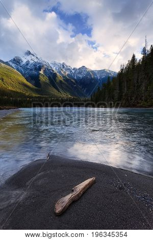 Mountain River in the Canadian Rocky Mountains British Columbia Canada in later afternoon light.